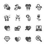 El amor y el icono de la tarjeta del día de San Valentín fijaron 5, vector eps10 Foto de archivo libre de regalías