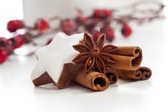 El anís y el canela de estrella de los palillos de canela de la decoración de la Navidad protagonizan en el fondo blanco Fotografía de archivo libre de regalías