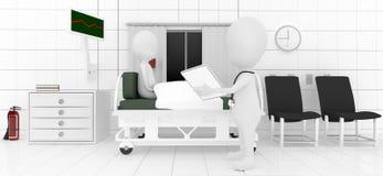 el analizar/que comprueba/paciente de examen del profesional 3d que miente en cama Imágenes de archivo libres de regalías