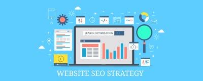 El analytics del seo del sitio web, desarrollo de la estrategia del Search Engine, usuario basó la optimización contenta Bandera  ilustración del vector