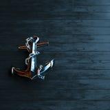 El ancla del hierro en un fondo de la madera pintada negro 3d rinde Imagen de archivo libre de regalías
