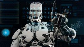 El androide del robot pulsa las teclas en la pantalla de la ciencia ficción Fondo realista del movimiento 4K stock de ilustración