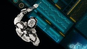 El androide del robot pulsa las teclas en la pantalla de la ciencia ficción Fondo realista del movimiento 4K metrajes
