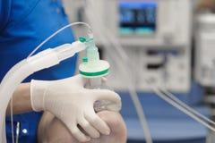 El anesthesiologist del doctor inscribe al paciente en un sueño médico foto de archivo
