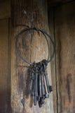 El anillo de pesado, vendimia afina el colgante en un poste Foto de archivo libre de regalías