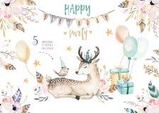 El animal lindo del cuarto de niños de los ciervos del bebé aisló el ejemplo para los niños Dibujo bohemio de la familia de los c ilustración del vector