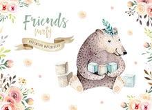 El animal lindo del cuarto de niños del oso del bebé aisló el ejemplo para los niños Dibujo bohemio de la familia de la acuarela  Imagen de archivo