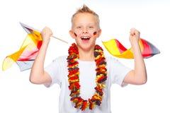 El animar alemán del aficionado al fútbol Fotografía de archivo libre de regalías