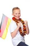 El animar alemán del aficionado al fútbol Imágenes de archivo libres de regalías