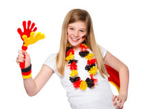 El animar alemán del ventilador de fútbol Imágenes de archivo libres de regalías