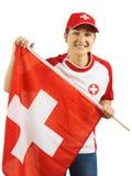 El animar para el equipo de deportes suizo Imágenes de archivo libres de regalías