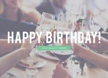 El aniversario anual del feliz cumpleaños celebra concepto Fotos de archivo libres de regalías