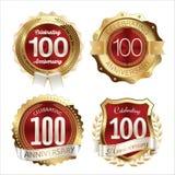 El aniversario Badges la 100a celebración de los años Foto de archivo libre de regalías