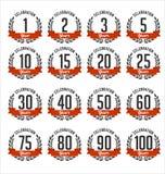 El aniversario Badges negro y RedColor Foto de archivo libre de regalías