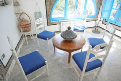 El Annabi. A room inside El Annabi house, a typical residence in Sidi Bou Said,Tunisia. Sidi Bou Said is a town in northern Tunisia known for the use of blue and Royalty Free Stock Photo