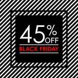 el 45% apagado Bandera de la venta y del descuento de Black Friday Plantilla del diseño de la etiqueta de las ventas Ilustración  stock de ilustración