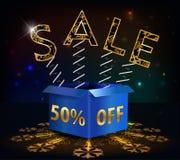 el 50% apagado, venta caliente del descuento de 50 ventas con la primavera de la oferta especial y caja Imagenes de archivo