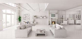 El apartamento blanco 3d interior rinde Fotos de archivo