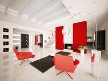 El apartamento moderno 3d interior rinde Imagen de archivo