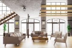 El apartamento moderno 3d interior del desván rinde Fotos de archivo libres de regalías