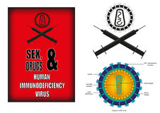El apego es la causa de contratar la inmunodeficiencia humana stock de ilustración