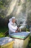 El apiarist mayor experimentado está fijando un fuego en un fumador de la abeja Imágenes de archivo libres de regalías