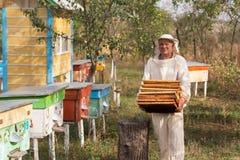 El apicultor está trabajando con las abejas y las colmenas en el colmenar Apicultura Imagen de archivo libre de regalías