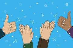 El aplaudir, aplauso y pulgar de manos encima del gesto - bravo Ejemplo del concepto de la enhorabuena Vector stock de ilustración
