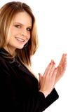 El aplaudir de la mujer de negocios Fotografía de archivo