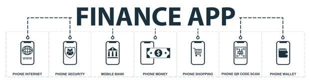 El App de las finanzas fijó la colección de los iconos Incluye elementos simples tales como Internet del teléfono, teléfono entra ilustración del vector