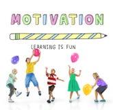 El aprendizaje de la educación es concepto del gráfico de los niños de la diversión imágenes de archivo libres de regalías