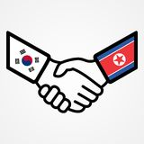 El apretón de manos de Corea del norte y sur señala el plano por medio de una bandera ilustración del vector