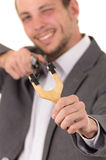 El apuntar concentrado sonriente hermoso del hombre de negocios Fotos de archivo