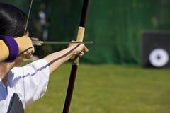 El apuntar japonés del archer Imagen de archivo