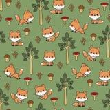 El arbolado foxes el modelo inconsútil del vector Imagen de archivo