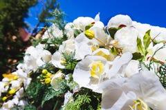 El arco de la boda adornó al aire libre las flores de la orquídea Fotos de archivo libres de regalías
