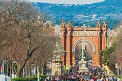 El arco de Triumph en Barcelona, España. Imagenes de archivo