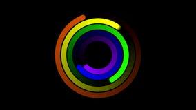 El arco iris abstracto giratorio de la seis-raya tuerce en espiral en HD negro stock de ilustración