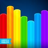 El arco iris brillante colorea el equalizador plástico de los tubos Imágenes de archivo libres de regalías