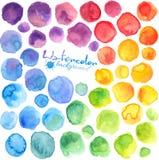El arco iris brillante colorea manchas pintadas acuarela stock de ilustración
