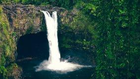 El arco iris cae en Hilo en la isla grande de Hawaii Imagenes de archivo