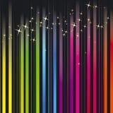 El arco iris colorea la raya con las estrellas chispeantes Imagen de archivo libre de regalías