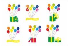 El arco iris colorea los globos stock de ilustración