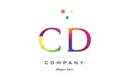el arco iris creativo cd de c d colorea el icono del logotipo de la letra del alfabeto Imagen de archivo