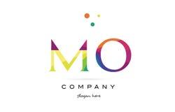 el arco iris creativo del MES m o colorea el icono del logotipo de la letra del alfabeto stock de ilustración