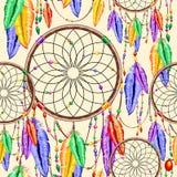 El arco iris de Dreamcatcher empluma el modelo inconsútil del encanto del vector nativo del artículo ilustración del vector