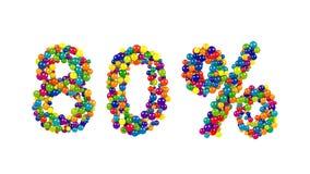El arco iris decorativo coloreó símbolo del 80 por ciento Imágenes de archivo libres de regalías