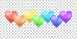 El arco iris del vector coloreó los globos aisló, el ejemplo del concepto del desfile gay, grupo de objetos libre illustration