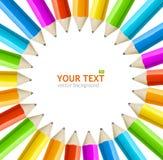 El arco iris del vector dibujó a lápiz el marco Foto de archivo libre de regalías