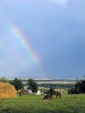 El arco iris en la libertad de la aldea. Imágenes de archivo libres de regalías